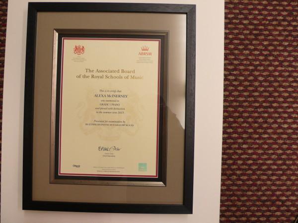 Framed Music Certificate