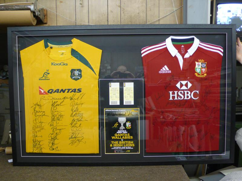 framed australian and lions jersey