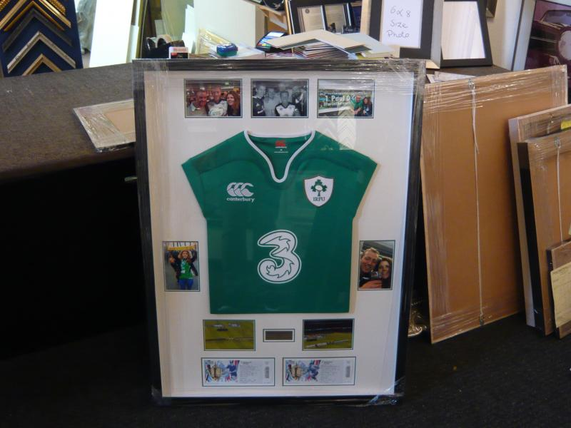 Framed Irish Rugby jersey