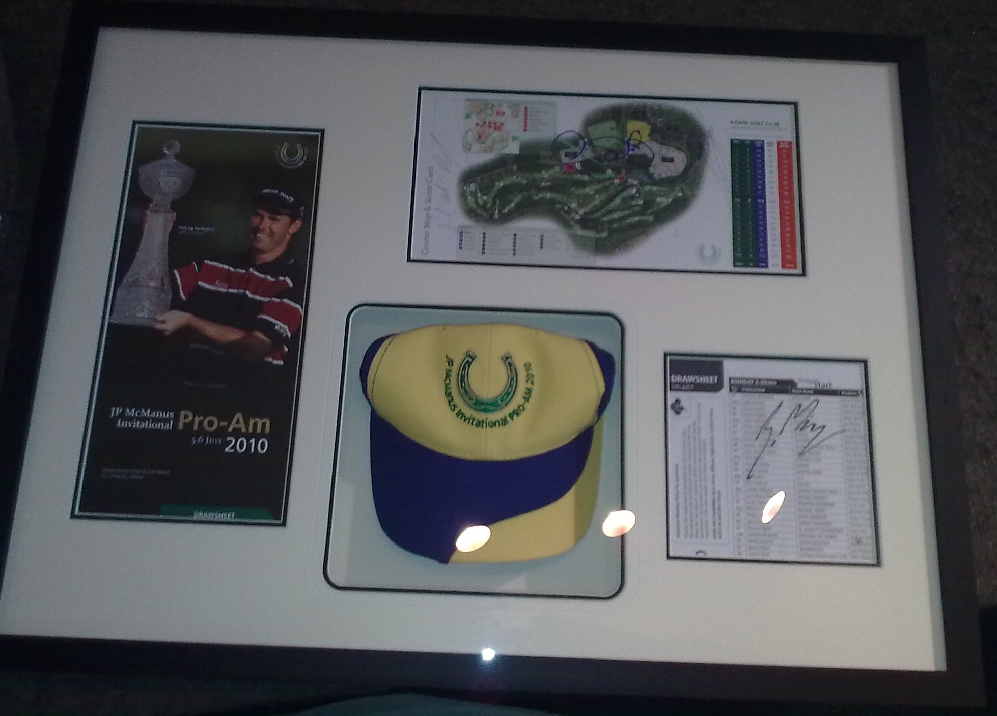 Framed Golf Memorabelia