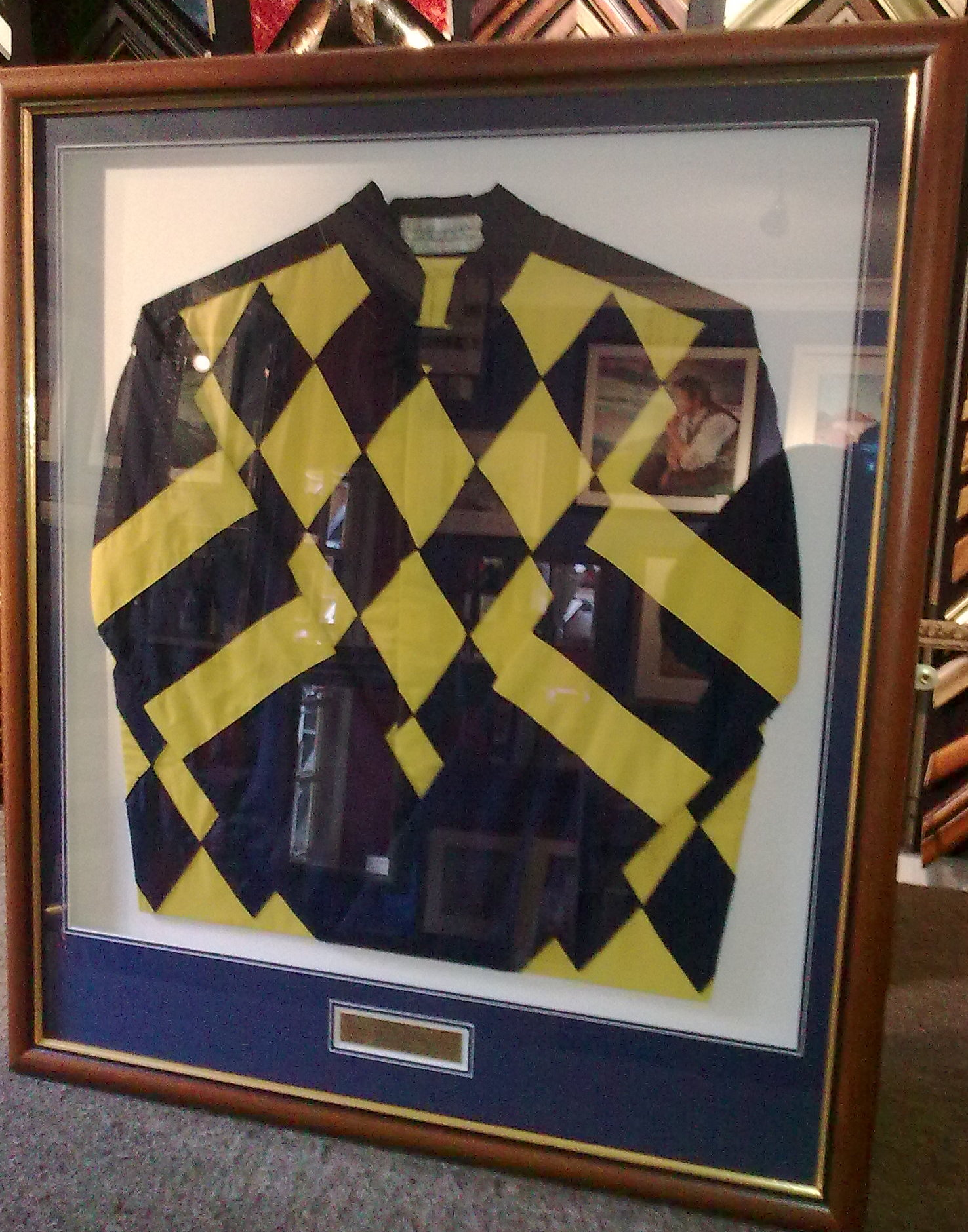 Framed jockey silk